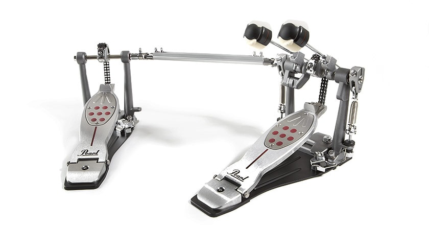 Pearl Eliminator Redline double kick pedal with NiNja skateboard bearings, adjustable PowerShift footboards and Rotor Tension Cradle springs