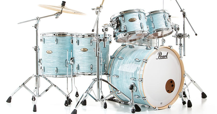 Pearl Session Studio Select 5-piece drum shell pack in Ice Blue Oyster wrap finish, with cymbals and hardware (sold separately)