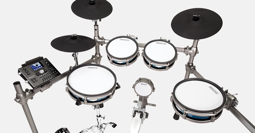 Simmons SD1200 electronic drum kit with real mesh heads, drum shells, kick pad, three multi-zone cymbals and advanced module