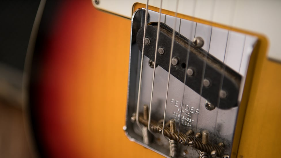 A closer look at the '63 bridge pickup on the Fender Custom Shop Blind Faith Tele.