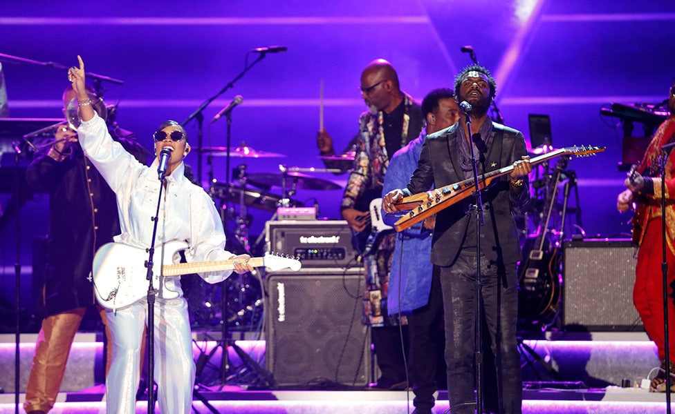"Gary Clark Jr. and H.E.R. perform at ""Let's Go Crazy"" Prince Tribute - Courtesy of the Recording Academy®/ Getty Images © 2020"