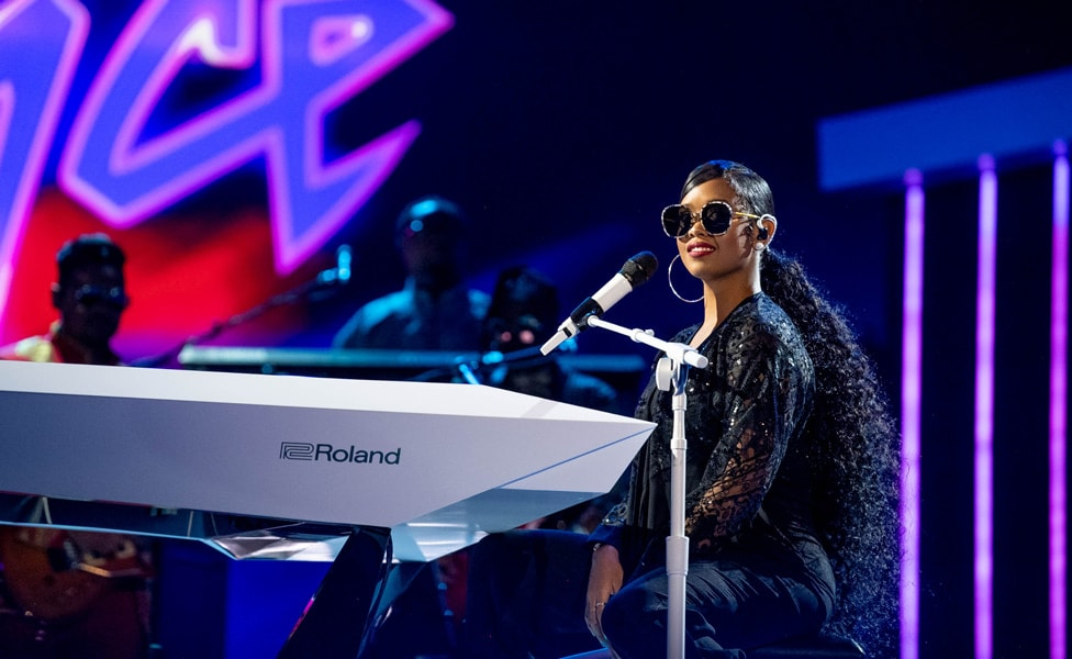 "H.E.R. performs at ""Let's Go Crazy"" Prince Tribute - Courtesy of the Recording Academy®/ Getty Images © 2020"