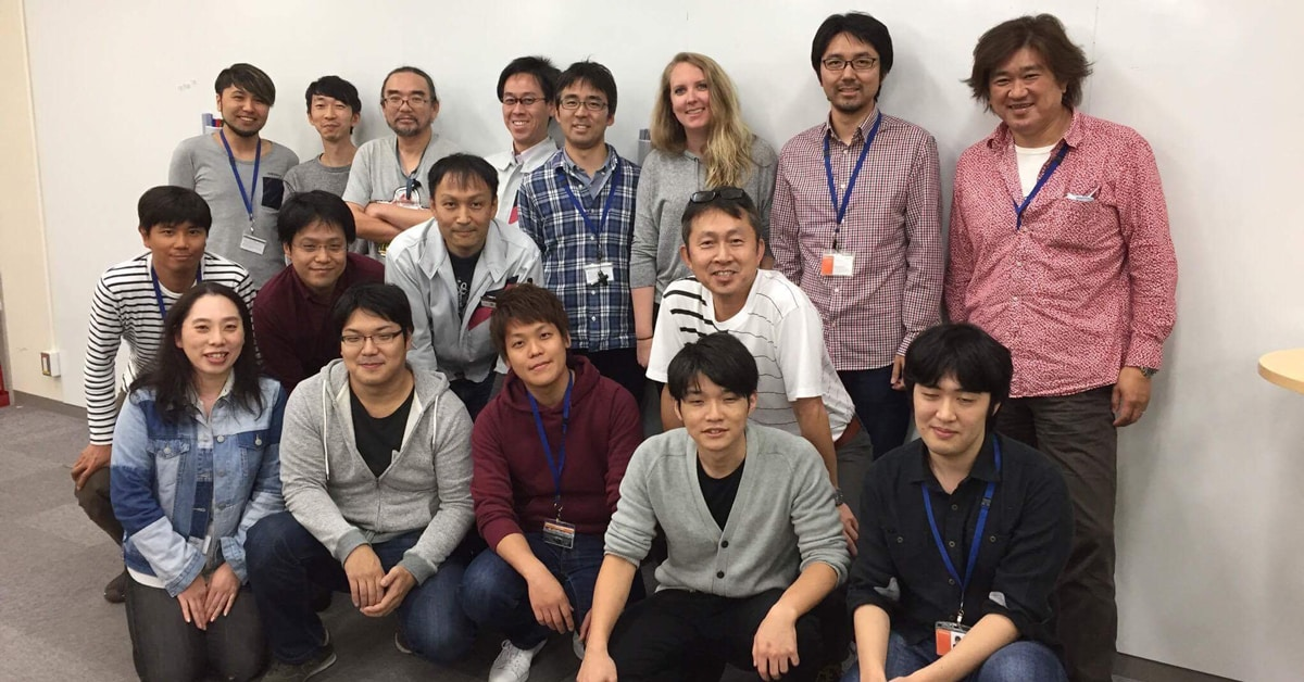 Jordan West and the Roland Drum Engineering team at Roland HQ in Japan