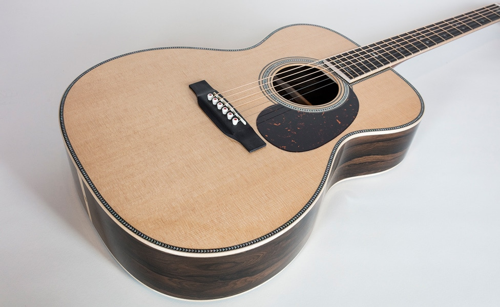 A closer look at the body of the Martin 000-42EC Crossroads Ziricote Acoustic Guitar
