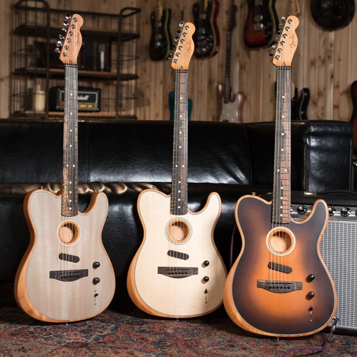 Fender Acoustasonic Telecasters - Space Gray, Natural and Sunburst