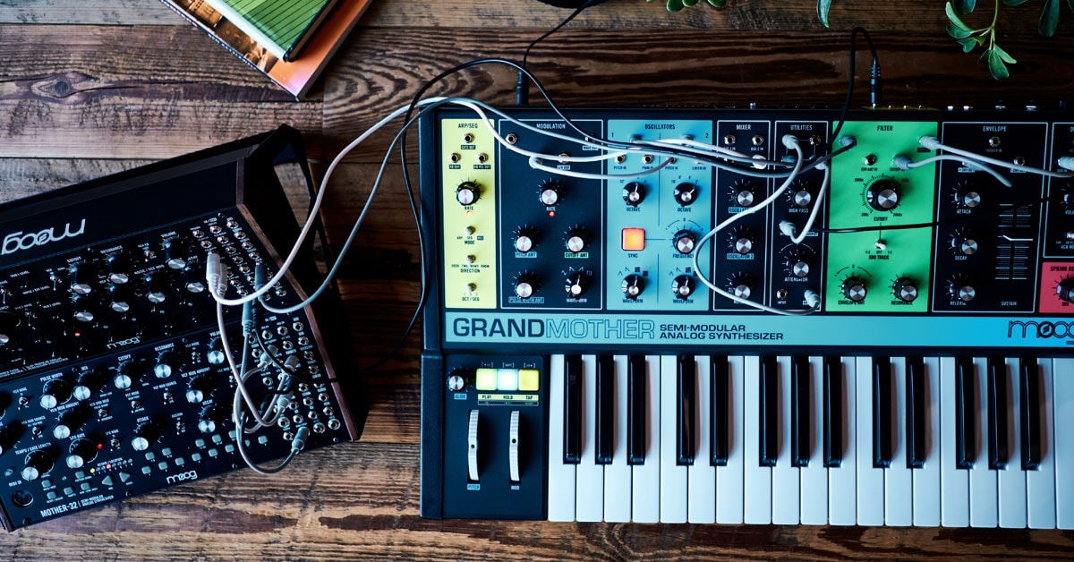 Moog Grandmother Synthesizer connected to Mother32 and DFAM