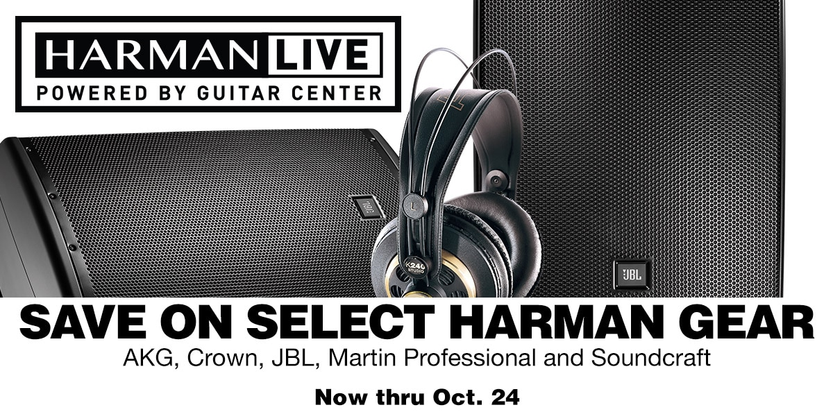 Save on select Harman gear. AKG, Crown, JBL, Martin Professional and Soundcraft. Now thru Oct. 24