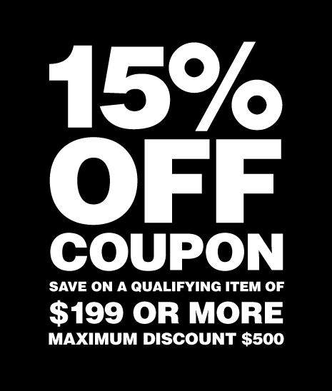 15% off coupon save on a qualifying item of $199 or more, maximum discount $500