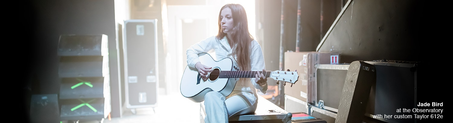 Jade Bird at the Observatory with her custom Taylor 612e