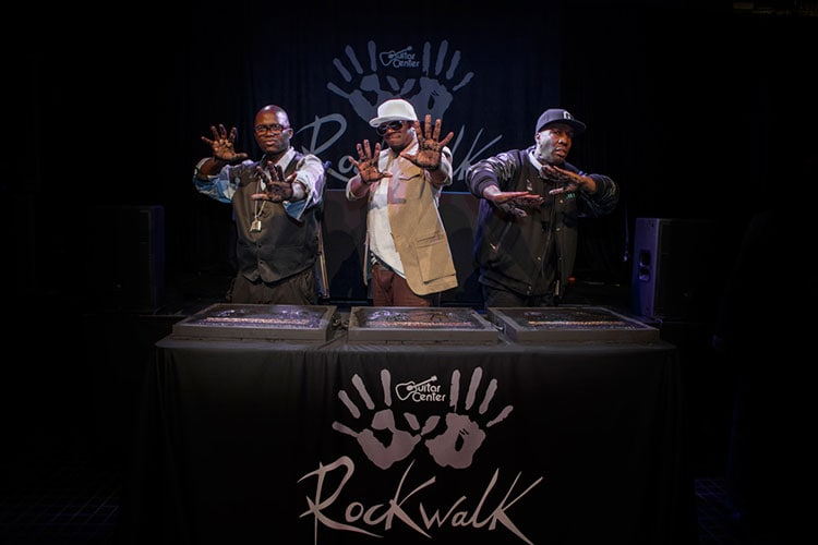 Grandmaster Flash, Grand Wizzard Theodore and Grand Mixer DXT are inducted into the RockWalk on March 6, 2014.