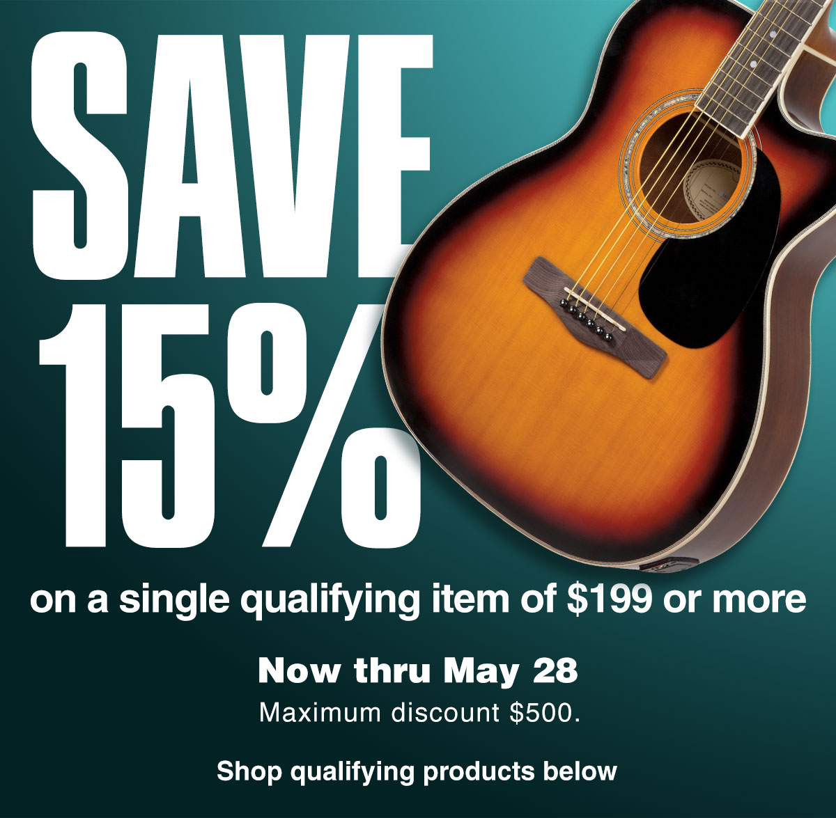 graphic relating to Guitar Center Printable Coupon called Memorial Working day Coupon