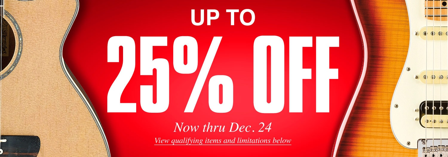 Up to 25 percent off. Now thru December 24. View qualifying items and limitations below.