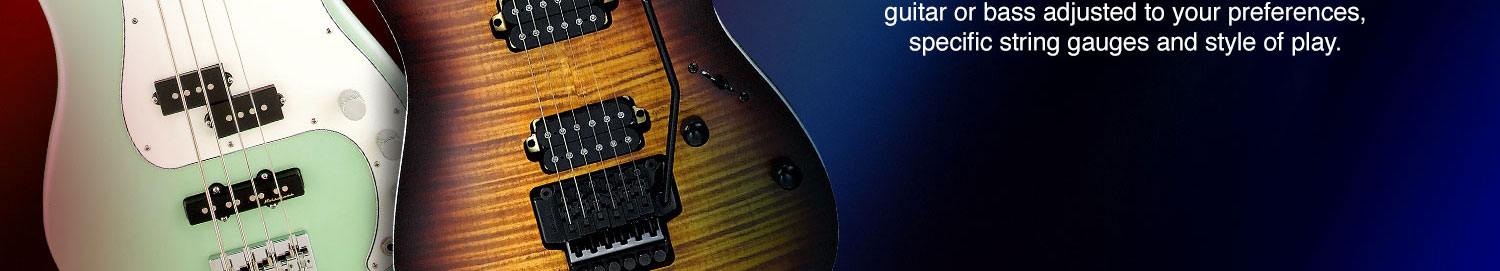 guitar or bass adjusted to your preferences, specific string gauges and style of play.