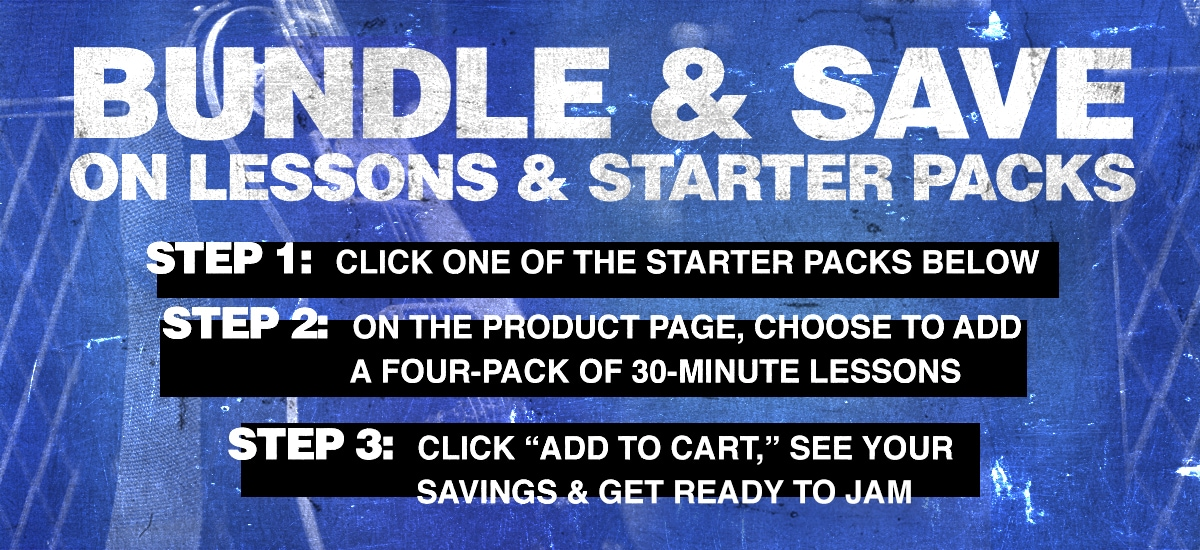 "1 Select a starter pack below, 2 Choose to add a four-pack of 30-minute lessons, 3 Click ""Add to cart"" and see your savings."