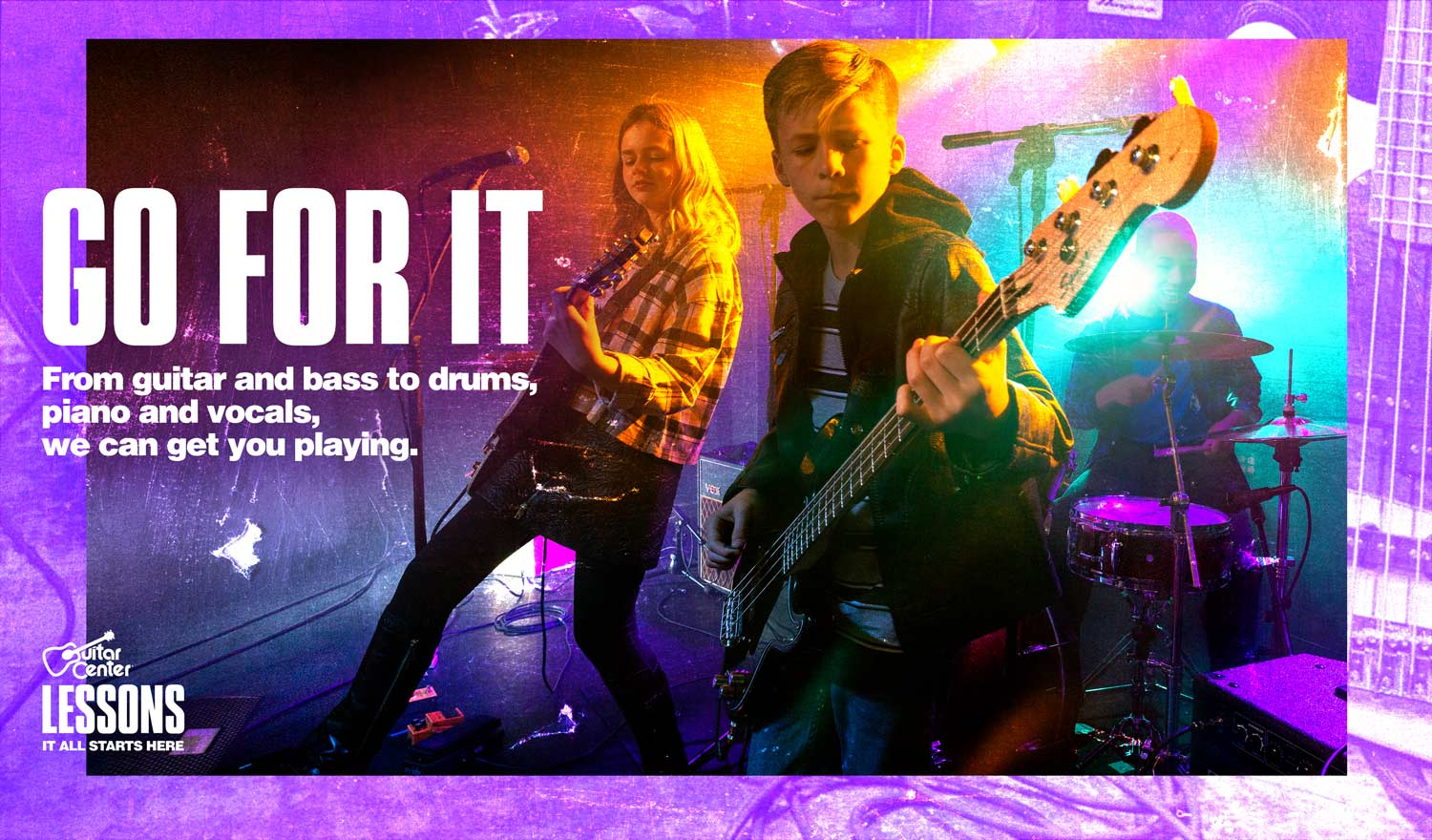 <h1>Go for it, from guitar and bass to drums, piano and vocals, we can get you playing</h1>