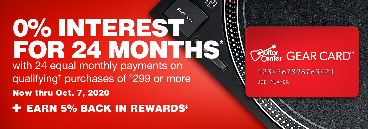 0 percent interest for 24 months with 24 equal monthly payments on qualifying purchase of 299 dollars or more. Now thru Oct. 7, 2020 plus earn 5 percent back in rewards
