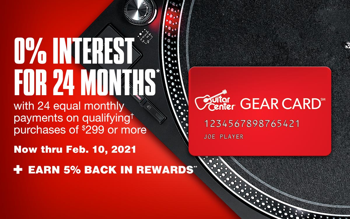 0 percent interest for 24 months with 24 equal monthly payments on qualifying purchase of 299 dollars or more. Now thru          Feb. 10, 2021 plus earn 5 percent back in rewards