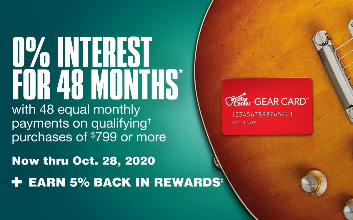 0 percent interest for 48 with 48 equal monthly payments on qualifying purchases of $799 or more . Now thru October 28, 2020. Plus earn 5% back in rewards.