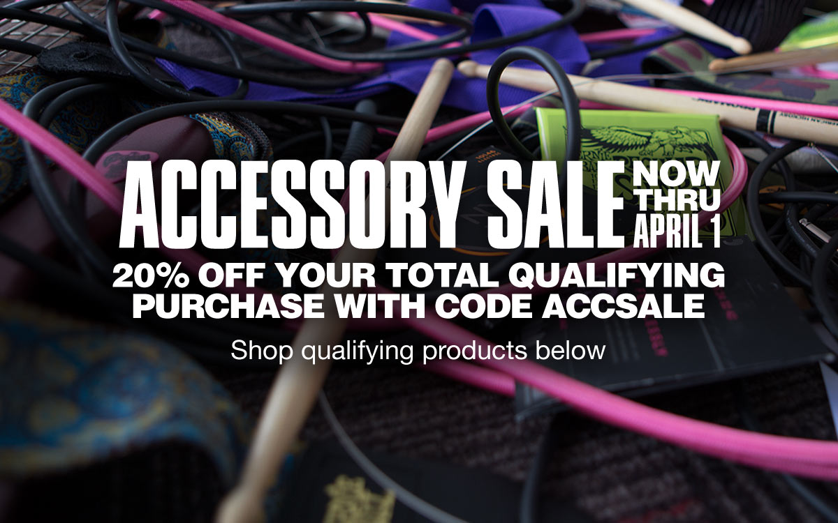 Accessory sale, now thru April 1. 20 percent off your total qualifying purchase with code A C C S A L E. 500 dollar max discount