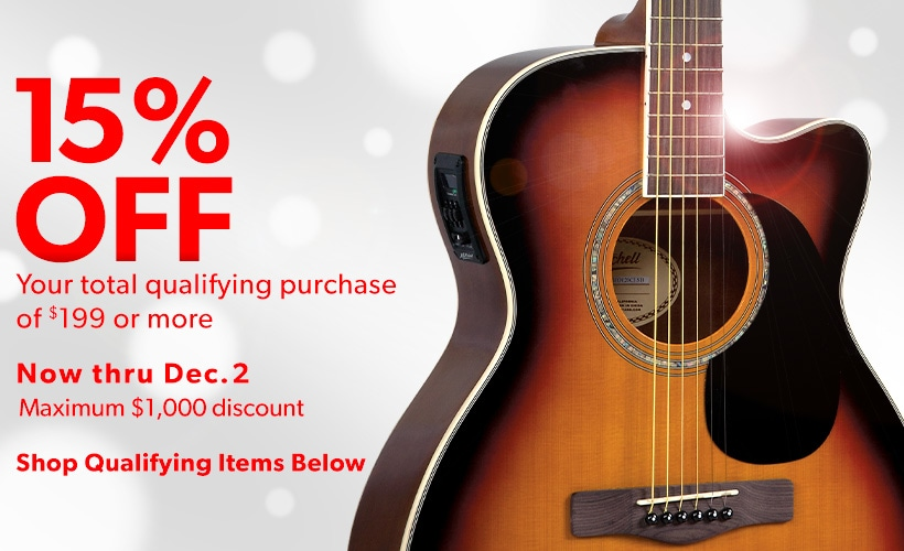 15 percent off your total qualifying purchase of 199 dollars or more. Now thru December 2. Maximum 1000 dollars discount. Shop qualifying items below.