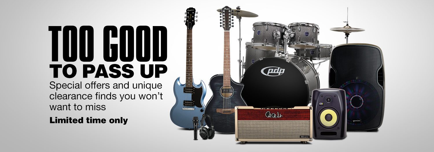 Guitars, Amps and Drum sets. Special offers and unique clearance finds you won't want to miss