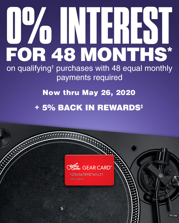 0 percent interest for 48 months on qualifying purchases with 48 equal monthly payments required. Now thru May 26, 2020. Earn 5 percent back in rewards.