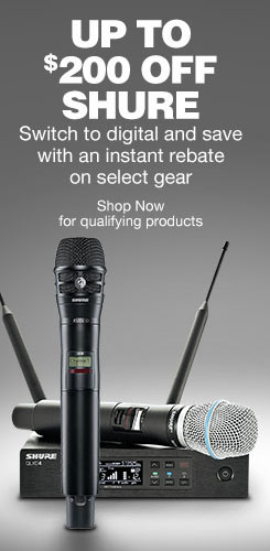 Up to 200 Dollars off Shure. Switch to digital and save with an instant rebate on select gear. Shop now for qualifying products.