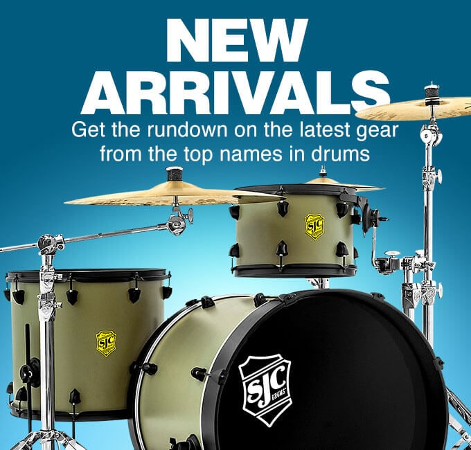 New arrivals. Get the rundown on the latest gear from the top names in drums.