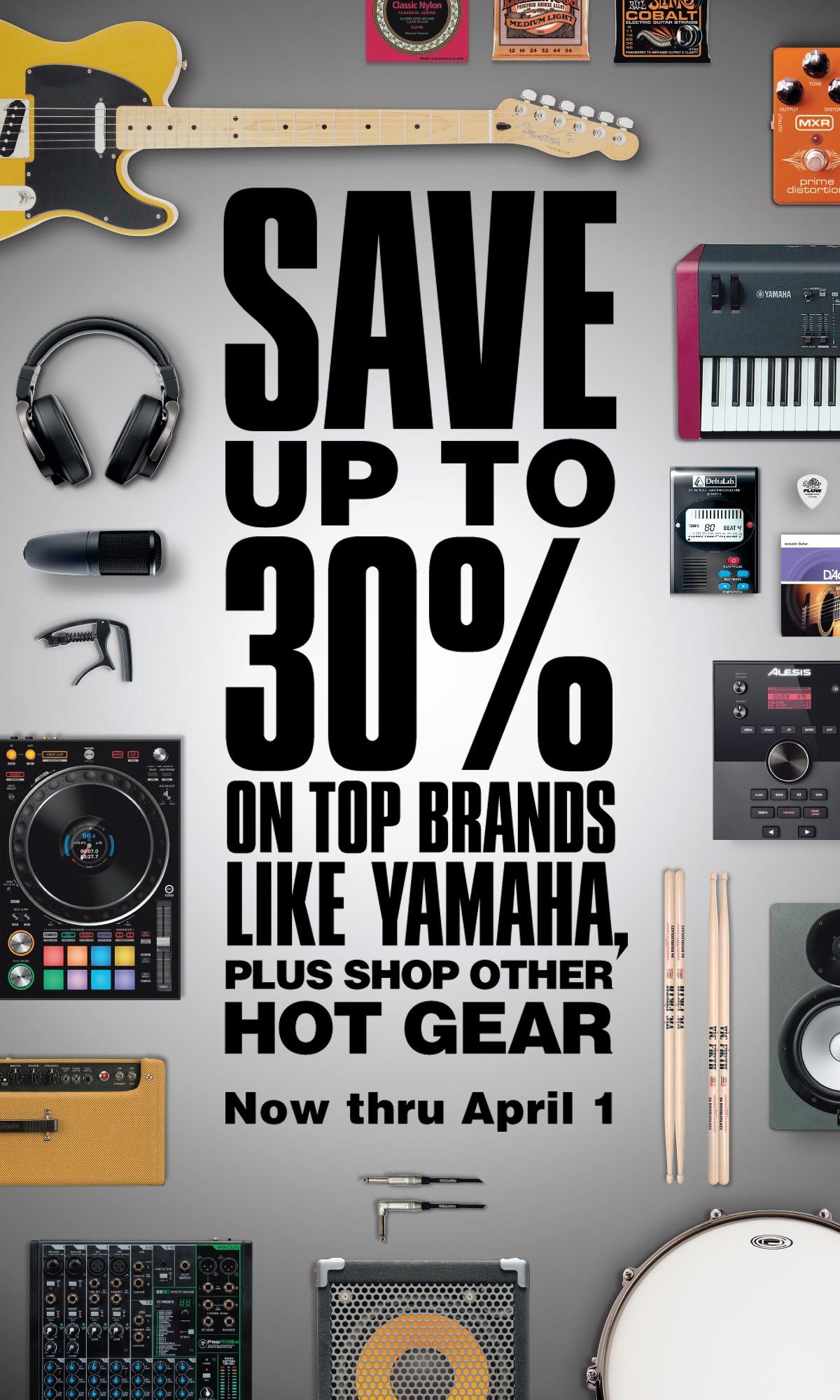 Save up to 30% on top brands like YAMAHA, plus shop other hot gear, Now thru April 1.