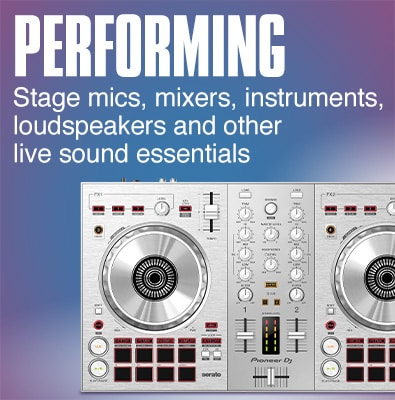 Performance. All your stage essentials, from DJ gear and live sound to digital pianos, guitars, amps and more.
