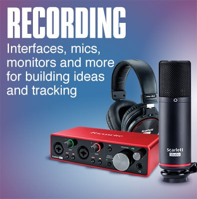Recording. Interfaces, mics, monitors and more for building ideas and tracking.