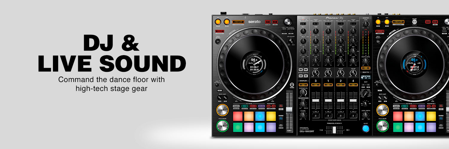 DJ & Live Sound. Up the ante with powerful stage gear that will get the crowd on their feet or bring down the whole house