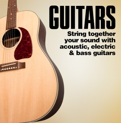 Guitars. String together your sound with acoustic, electric and bass guitars