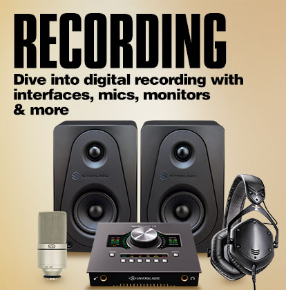 Recording. Dive into digital recording with interfaces, mics, monitors and more