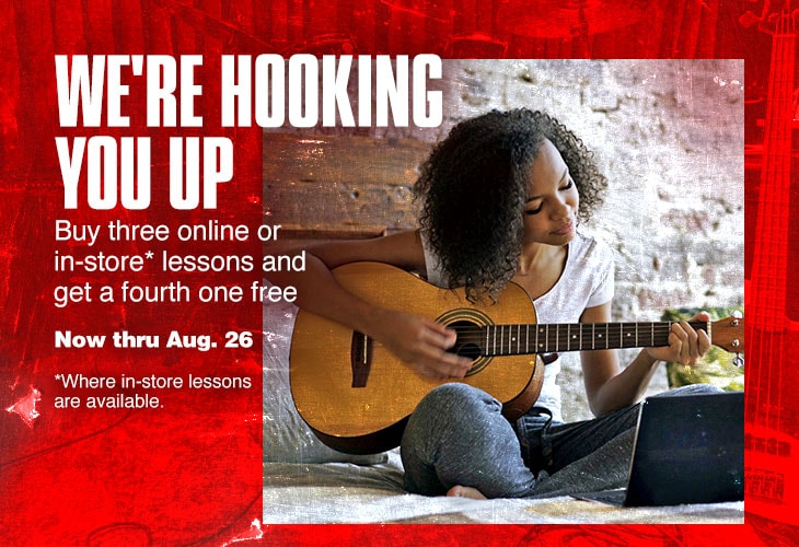 We're hooking you up. Buy three online or in-store lessons and get the forth one free. Now thru August 26. Where in store lessons are available.