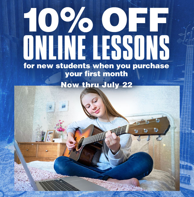 10% off online lessons for new students when you purchase your first month. Now thru July 22.