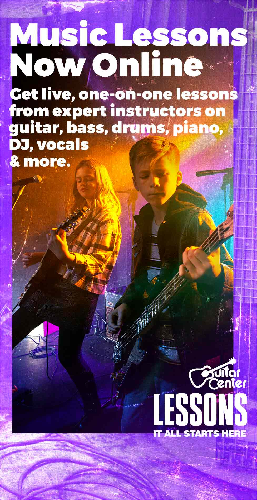 Music Lessons Now Online. Get live, one on one lessons from expert instructors on guitar, bass, drums, piano, DJ, vocals and more. <h1>Guitar Center Lessons. It all starts here.</h1>