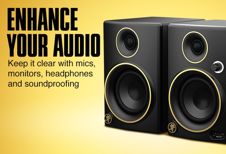 Enhance your audio. Keep it clear with mics, monitors, headphones and soundproofing.