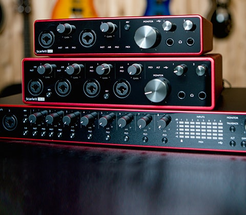 Focusrite Scarlett 8i6, Focusrite Scarlett 18i8  and Focusrite Scarlett 18i20 USB Audio Interface.