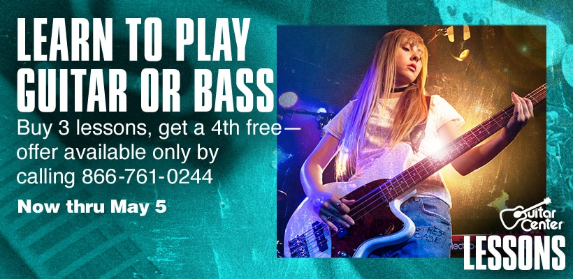Learn to play guitar or bass. Buy 3 lessons, get a 4th free-offer available only by calling 866-761-0244. Now thru May 5.
