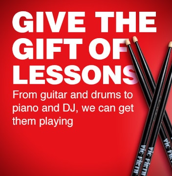Give the gift of Lessons. From guitar and drums to piano and DJ, we can get them playing