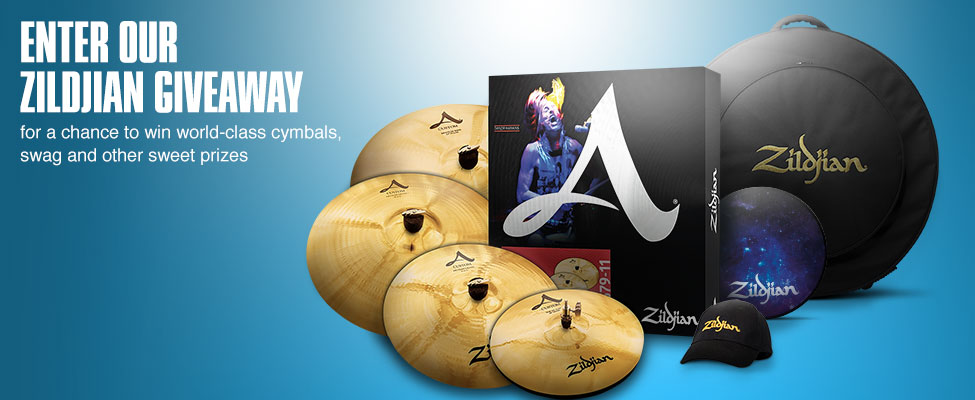 Enter our Zildjian giveaway for a chance to win world class cymbals, swag and other sweet prizes.