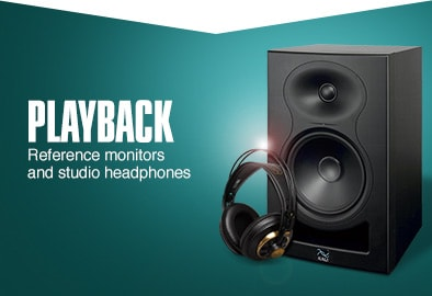 Playback. Reference monitors and studio headphones.