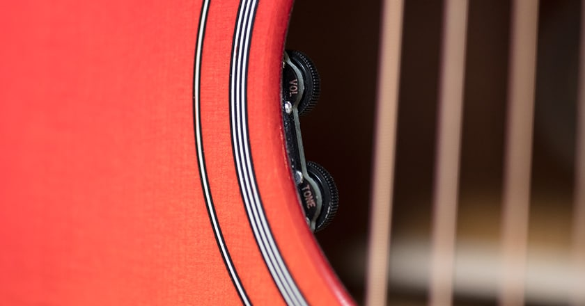 Soundhole view of 2019 Hummingbird Standard L.R. Baggs electronics