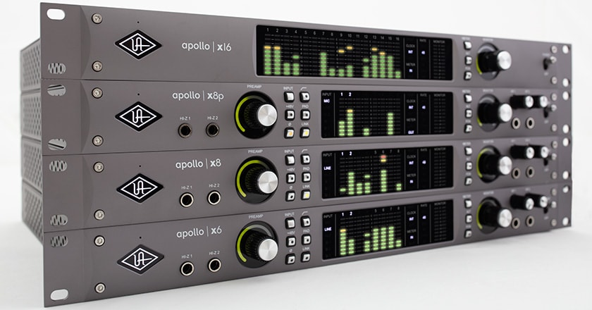 All four Apollo x Series audio interfaces—the x6, x8, x8p and x16
