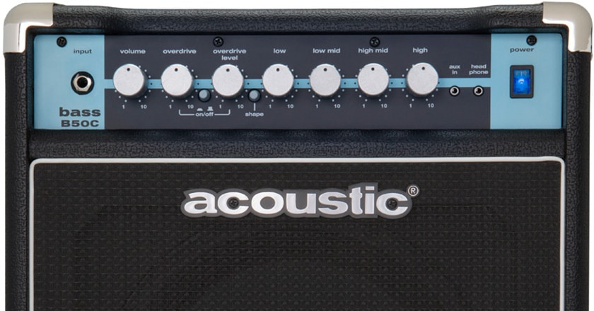 The front panel of the Acoustic B50C bass combo