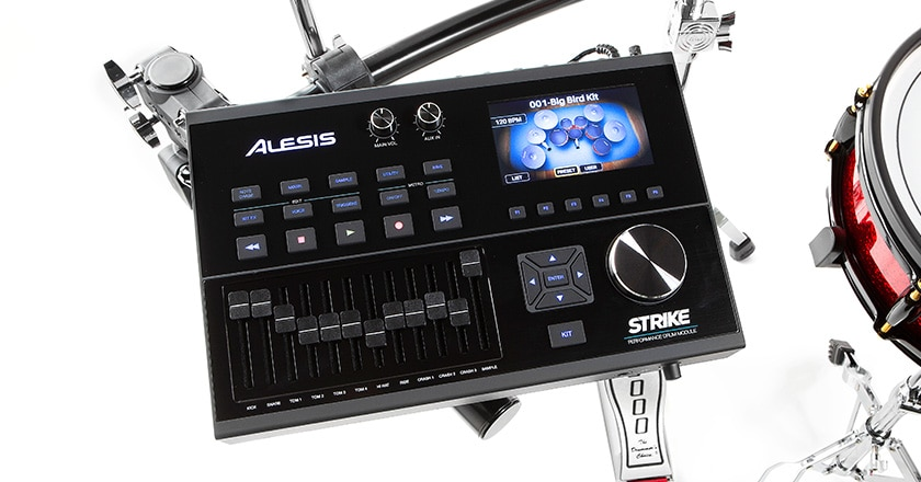 Alesis Strike Pro module with 136 kits, 1,800 instruments, onboard sampling, custom kit editor, USB/MIDI connection and 4.3″ color LED screen