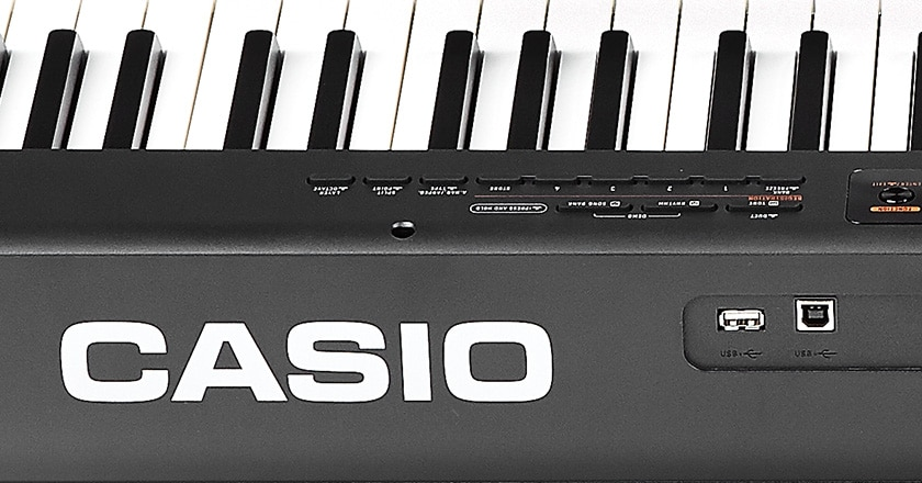 Rear view of piano with close-up detail on connectivity