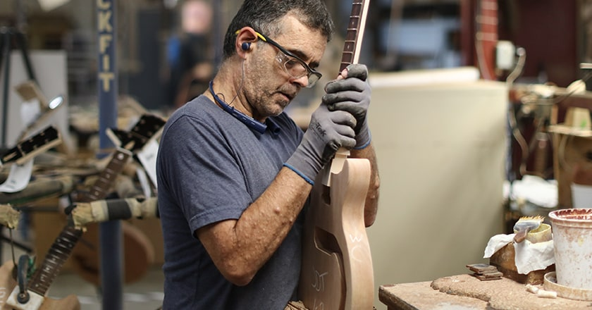 Setting the neck at the Gibson Factory