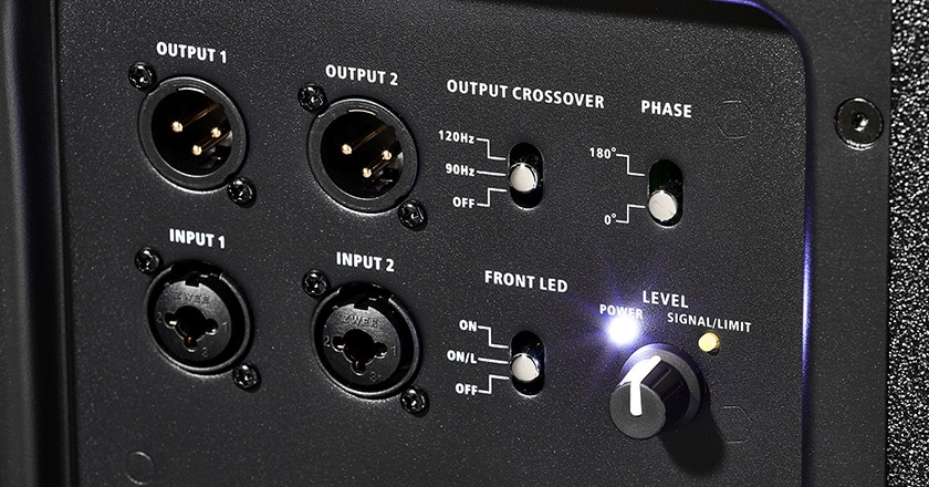 Close-up photo of XLR connections on Harbinger V2318S subwoofer Name: harbinger-v2318s-sub-connections.jpg